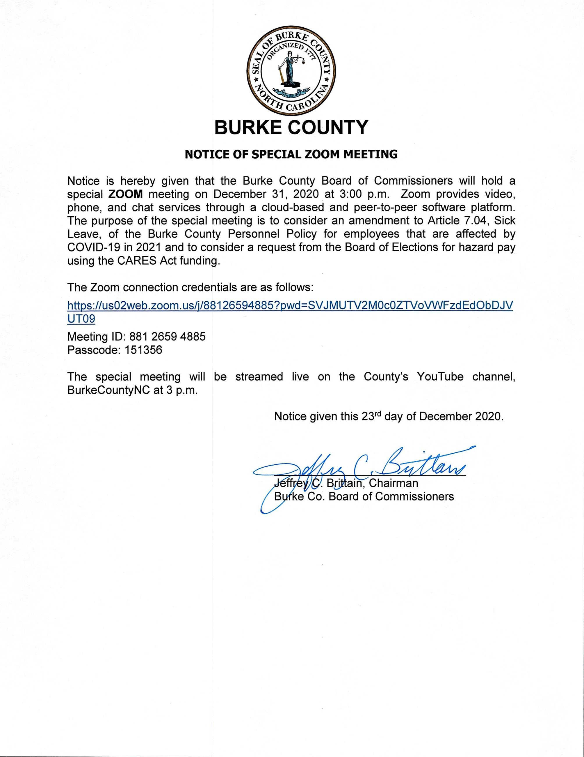 2020 12 31 BOC Special Meeting Notice - Executed_0001